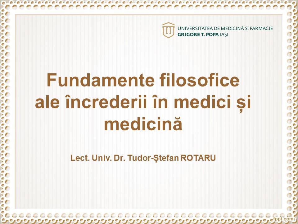 Fundamente filosofice ale încrederii în medici și medicină